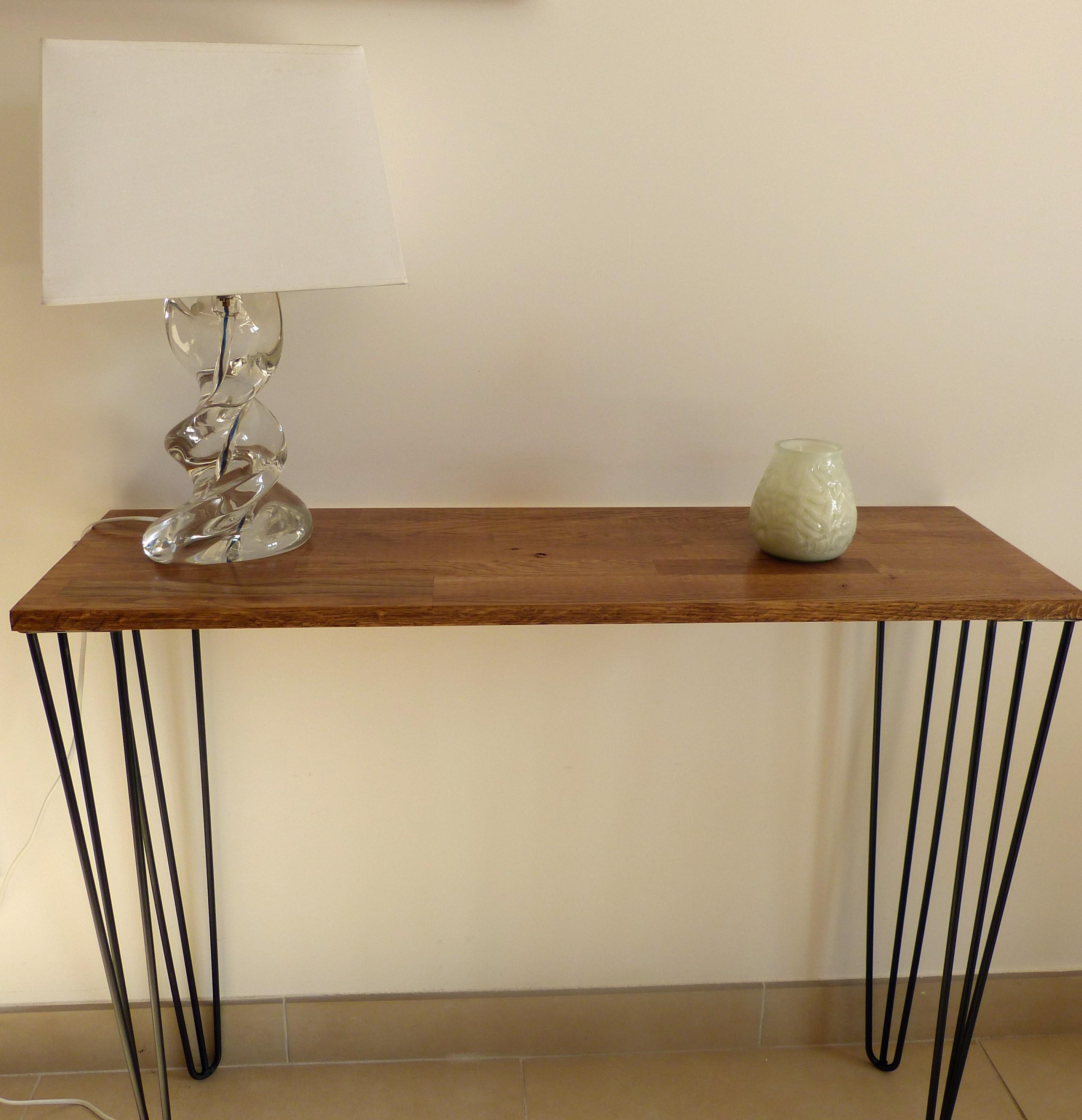 Table console sur hairpin legs en acier - Console depliable en table ...